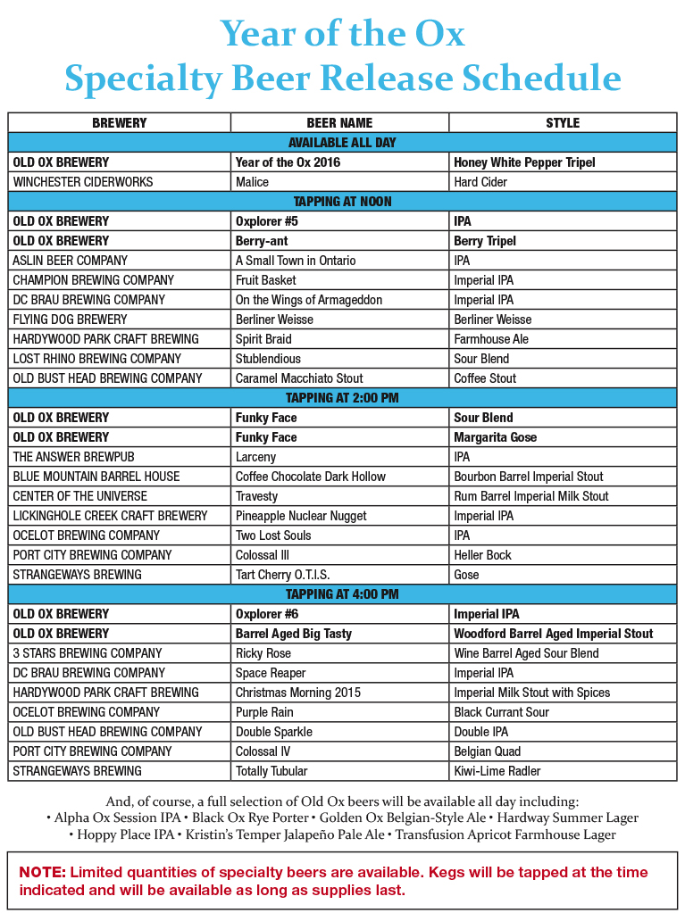 YOX Schedule Revised